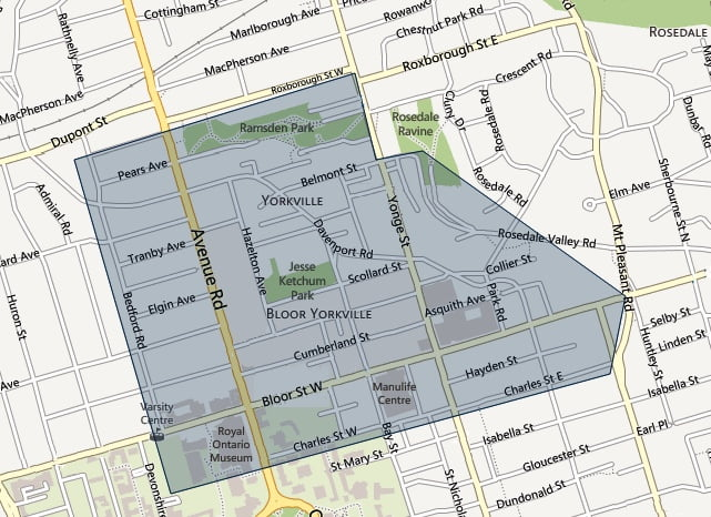 Yorkville Toronto Neighbourhood Map
