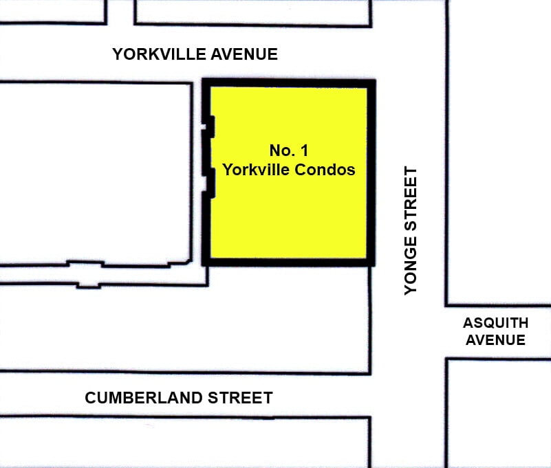 1 Yorkville Ave Condos At Yonge North Of Bloor Toronto Site Map Victoria Boscariol Chestnut Park Real Estate