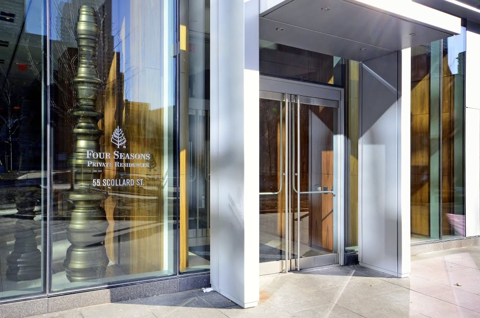 Four Seasons Private Residences 55 Scollard St Entrance Yorkville Toronto Condos Victoria Boscariol Chestnut Park Real Estate