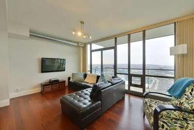 33 Mill St Suite 3002 Family Room Distillery District Toronto 3 bedroom Condos Victoria Boscariol Chestnut Park Real Estate r