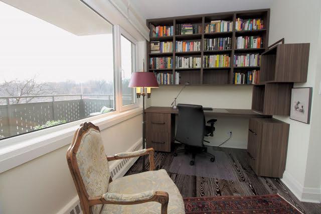Luxury Co-ops Apartments For Sale Toronto Rosedale 21 Dale Ave Suite 844 Master Bedroom Builtin Desk Victoria Boscariol Chestnut Park Real Estate r