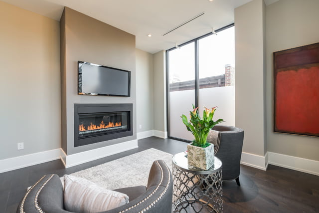 Family Room With Fireplace 36 Hazelton Ave Unit 4A Yorkville Toronto Luxury Condos Victoria Boscariol Chestnut Park Real Estate