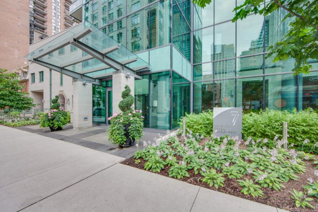 77 Charles St West Toronto Entrance Yorkville Luxury Condos Victoria Boscariol Chestnut Park Real Estate