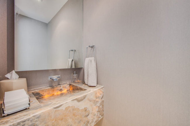 77 Charles St West Yorkville Luxury Condos Unit 1402 Powder Room Victoria Boscariol Chestnut Park Real Estate