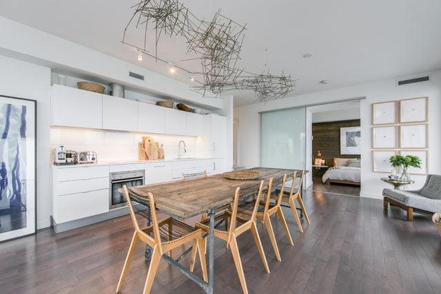 Dining Room Kitchen Master Bedroom 70 Distillery Lane Unit 3507 Toronto Condos Victoria Boscariol Chestnut Park Real Estate