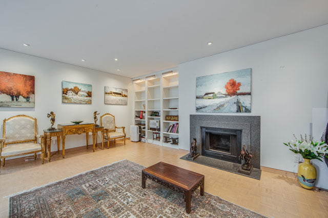 1132 Bay St Unit 1102 Living Room Fireplace Yorkville Toronto Condos Victoria Boscariol Chestnut Park Real Estate