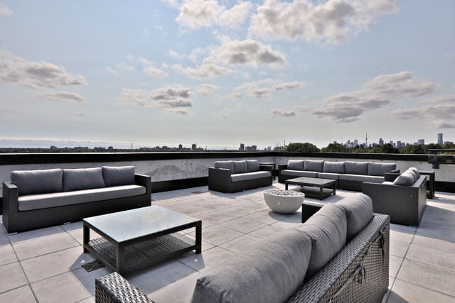 Roof Top Terrace 25 Malcolm Rd Leaside Toronto Upper House Condos Victoria Boscariol Chestnut Park Real Estate
