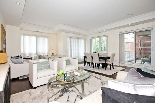 20 Burkebrook Pl Unit 329 Living Room Kilgour Condos For Sale Toronto Victoria Boscariol Chestnut Park Real Estate