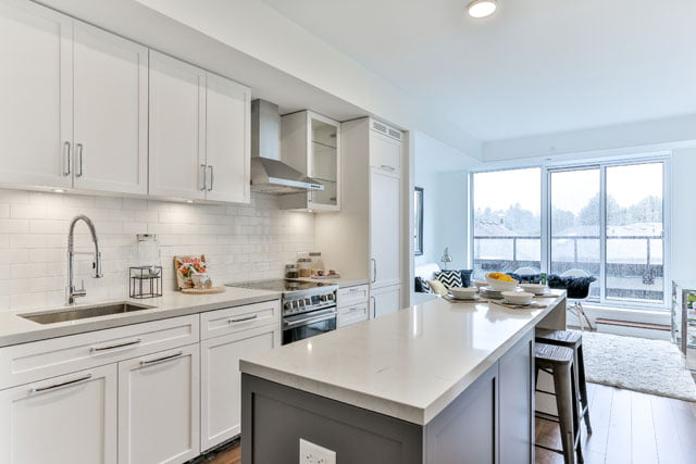 25 Malcolm Rd Toronto Suite 410 Kitchen The Upper House Condos Leaside Victoria Boscariol Chestnut Park Real Estate