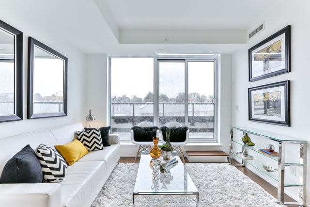 25 Malcolm Rd Toronto Unit 410 Upper House Condos Leaside Living Room Victoria Boscariol Chestnut Park Real Estate