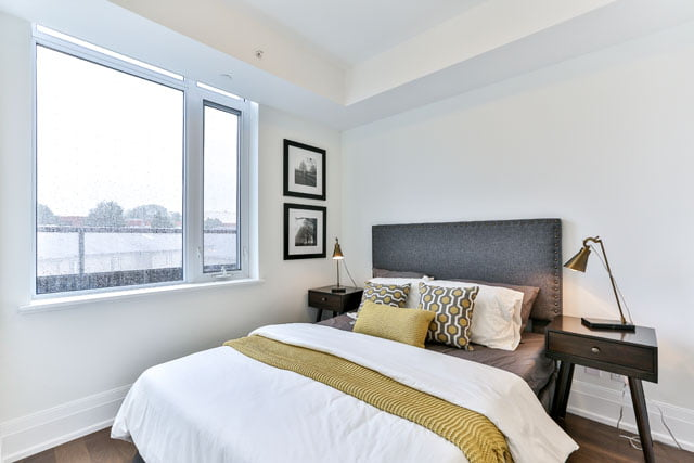 25 Malcolm Rd Unit 410 Toronto Master Bedroom Leaside Condos The Upper House Victoria Boscariol Chestnut Park Real Estate