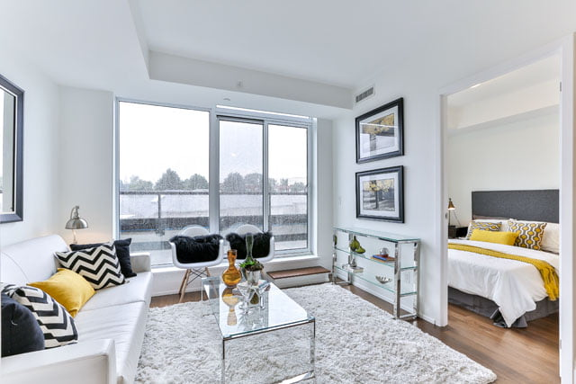 Living Room Master Bedroom Unit 410 Upper House Condos 25 Malcolm Rd Toronto Victoria Boscariol Chestnut Park Real Estate