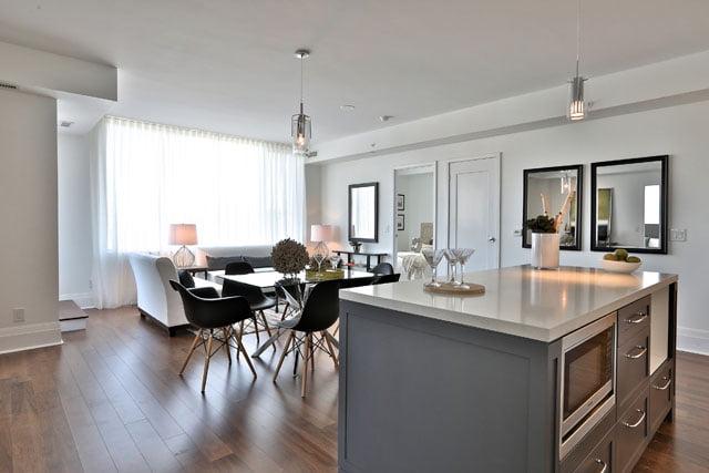 Suite 205 Upper House Condos Leaside 25 Malcolm Rd Toronto Living Room Victoria Boscariol Chestnut Park Real Estate