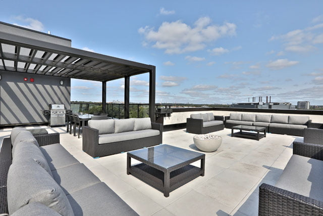 The Upper House Condos Rooftop Terrace BBQ Leaside 25 Malcolm Rd Toronto Victoria Boscariol Chestnut Park Real Estate