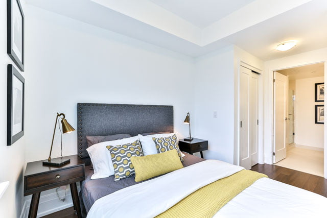The Upper House Leaside Condos 25 Malcolm Rd Unit 410 Master Bedroom Toronto Victoria Boscariol Chestnut Park Real Estate