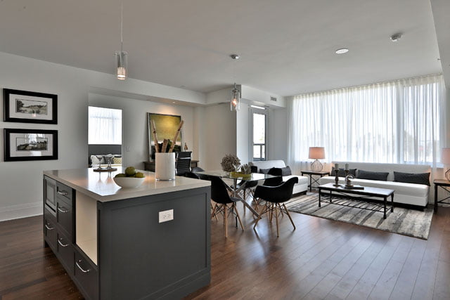 Upper House Condos Leaside Suite 205 Living Dining Room Kitchen 25 Malcolm Rd Toronto Victoria Boscariol Chestnut Park Real Estate